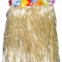 Child Size Natural Hula Skirt trimmed with Colorful Flowers