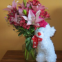 Rose & Lily Celebration with Bear Flower Arrangement is adorable