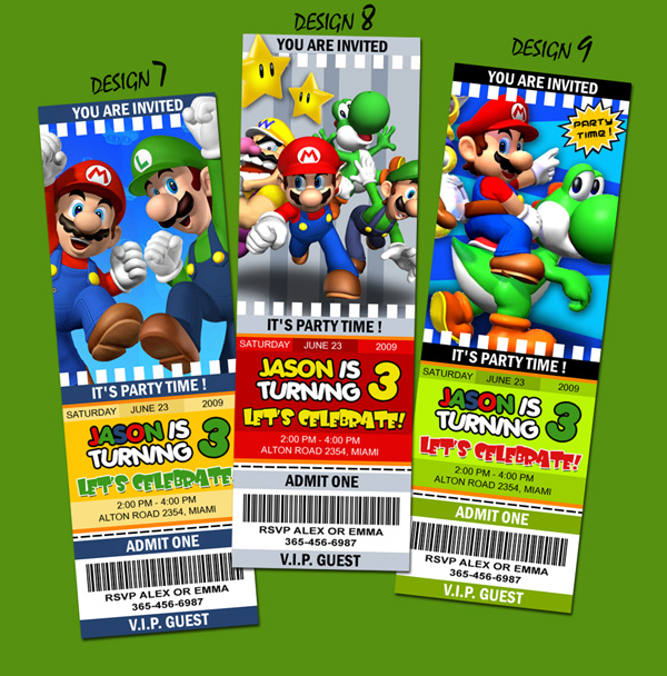 Personalized Mario Bros Ticket Invitations