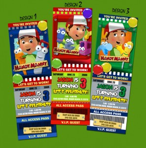 Handy Manny Ticket Style Invitations