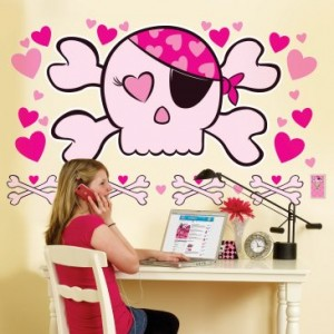 Pink Skull Wall Decals