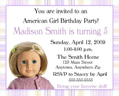 american girl doll party invitations