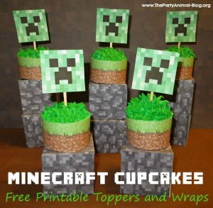 Free Printable Minecraft Cupcake Toppers And Wrappers Thepartyanimal Blog